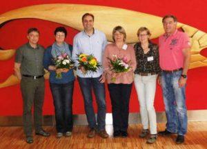 Der neue erweiterte Vorstand: vl.n.r. Uwe Jahn, Sibylle Linke (stellvertr. Vorsitzende), Jens Batschkus (Vorsitzender), Marina Krämer-Waak (Schriftführerin), Christina Hensel, Thomas Säuberlich (es fehlt Steve Bathelt)
